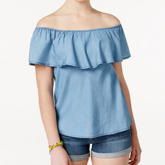 cd13500dc65 NWT American Rag Chambray Off Shoulder Ruffle Top